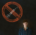 No drugs man on blackboard background addict business student or teacher Royalty Free Stock Photography