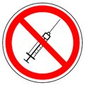 No drugs, prohibition sign of syringe, vector. Royalty Free Stock Photo