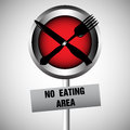 No eating area abstract colorful background with a sign made from a plate a fork and knife Royalty Free Stock Images