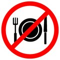 No Eating Symbol Sign Isolate On White Background,Vector Illustration EPS.10