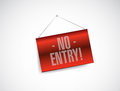 No entry hanging banner illustration design over white background Stock Photography