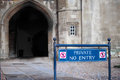 No entry for pedestrians to the north side of the great court at trinity college Royalty Free Stock Photos