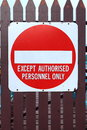 No entry sign on brown wooden gate Royalty Free Stock Photography