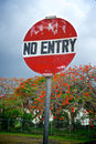 No Entry Sign in Caribbean Stock Photos