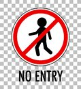 No entry sign isolated on transparent background Royalty Free Stock Photo