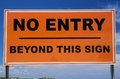 No entry sign orange and black beyond this Royalty Free Stock Images
