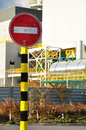 No entry sign traffic in industrial zone Stock Image