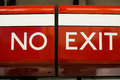 No exit sign bright red and white Royalty Free Stock Photography