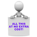 No extra cost all this at costs words on a banner held straight on white background by a d man Royalty Free Stock Photography