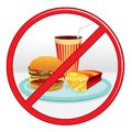 No fast food prohibition sign vector label Stock Photography