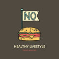 No Fast Food vintage vector icon