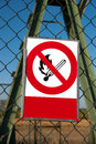 No fire red white signs on the fence Royalty Free Stock Photos