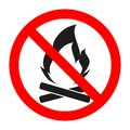 No Fire sign. Prohibition open flame symbol. Red icon on white background. Royalty Free Stock Photo