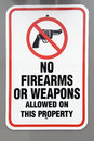 No firearms or weapons warning sign stands at the entrance to many buildings and public areas Royalty Free Stock Photos