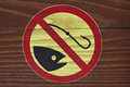 No fishing sign allowed on wooden plank Royalty Free Stock Photos