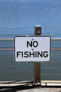 No fishing signage at a pier Royalty Free Stock Images