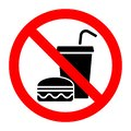 No food stop eat or drink prohibition sign