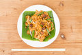 No frills simple chinese char kway teow or fried noodle on banana leaf Royalty Free Stock Photo