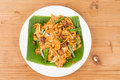 No frills simple chinese char kway teow or fried noodle on banana leaf Royalty Free Stock Photos