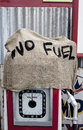 No fuel a old retro pump with a home made sign the are available Stock Photo