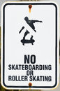 No fun skateboarding or roller skating sign on the waterfront pier in bandon oregon Stock Images