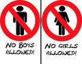 No Girls or Boys Allowed Royalty Free Stock Photo