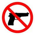 No guns, no weapons, prohibition sign on white background Royalty Free Stock Photo