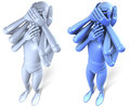 No hear no see no speak two color versions blue and grey of a figure performing position with multiple arms d rendering on white Stock Photos