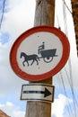 No horsedrawn carts sign at the town of trinidad on cuba Stock Photo