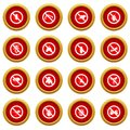 No insect sign icon red circle set