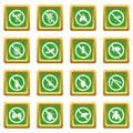 No insect sign icons set green