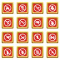 No insect sign icons set red
