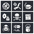 No insects icon collection set on a black background Stock Image