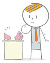 No investment doodle stick figure sad businessman seeing his piggy bank empty Stock Image