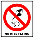No kite flying sign. Vector illustration. Warning prohibition banner with red circle isolated on white