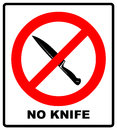 No knife no weapon prohibition sign sign on white background.vector illustration Royalty Free Stock Photo