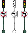No left turn signal traffic light over white background Stock Images