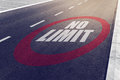 No limit sign on highway Royalty Free Stock Photo