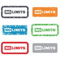 No limit sign icon unlimited symbol retro stamps and badges Royalty Free Stock Photo