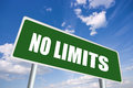 No limits green road sign Stock Images
