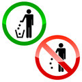No littering triangle signs on a white background Stock Images