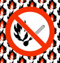 No matches. Prohibited symbol on seamless fire background. Vector illustration. Royalty Free Stock Photo