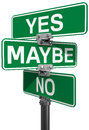 No maybe yes street sign decision signs to make your choice between or Royalty Free Stock Photos