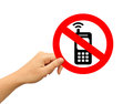 No mobile phone sign over white Royalty Free Stock Photo