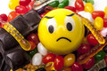 No more sweets sad emoticon and a lot of Royalty Free Stock Images