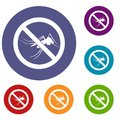 No mosquito sign icons set