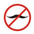 No mustaches icon. Man mustaches Prohibition no symbol Red round