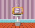 No news vector drawing of a tv set with no news screen resizable situation displayed by retro television and background are in Stock Photos