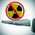 No nuclear power a man hand with a sign in his hand Royalty Free Stock Photo