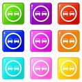 No overtaking road traffic sign icons 9 set